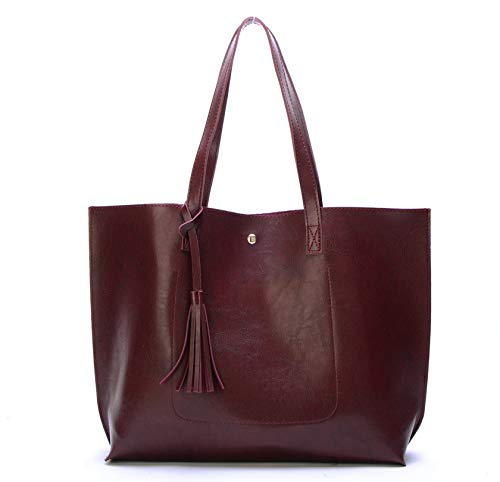 Nodykka Women Tote Bags Top Handle Satchel Handbags PU Pebbled Leather Tassel Shoulder Purse,One Size,Wax Red Wine