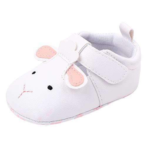 0-18Meses,SO-buts Zapatos Niña Recién Nacidos Bebés Zapatos Cómodos Colores Mixtos Moda Animal Dibujos Animados Primeros Caminantes Zapatos Planos Simples (Blanco,12-18 Meses)