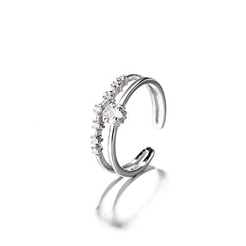 WWJJTT Diamante Cristal Estrella Doble Anillo de Plata Esterlina Femenina S928 Diseño Apertura Ajustable Índice Anillo de Dedo