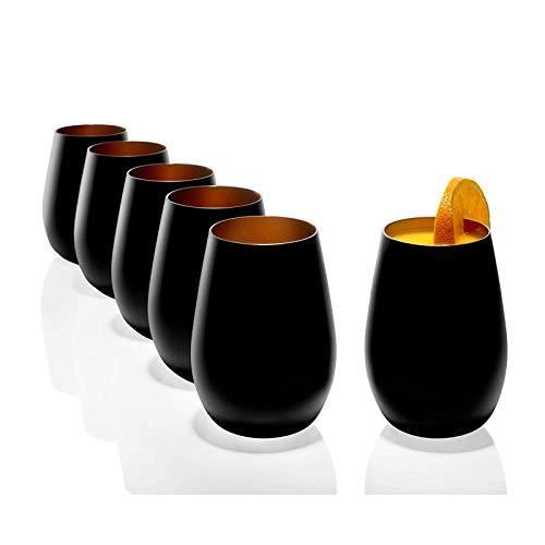 Stölzle Becher außen schwarz matt innen Bronze 465 ml Saftglas, Wasserglas Becher spülmaschinenfest tolle Geschenkidee