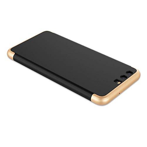 Funda compatible con Huawei P10, carcasa lisa 3 en 1, carcasa rígida de policarbonato ultrafina transparente, protección de la cámara, antiarañazos, parte trasera dorado + negro Talla única