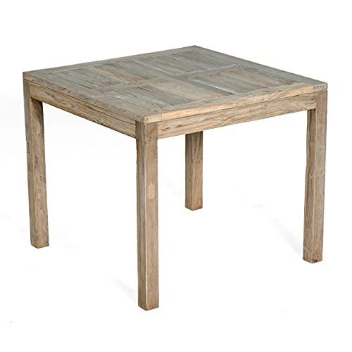 Sonnenpartner SunnySmart Teakholz-Gartentisch Wellington Old Teak Grey-Washed Tisch 90x90 cm