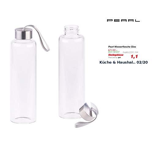 PEARL Flaschen: 2er-Set Trinkflaschen aus Borosilikat-Glas, 550 ml, spülmaschinenfest (Trinkflasche Borosilikatglas)