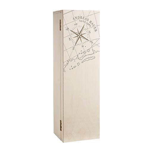 AMAVEL Weinbox aus Holz mit Gravur, Motiv Kompass, Personalisiert mit Namen und Datum, Geschenkverpackung für Weinflaschen