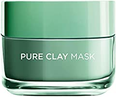 L'Oreal Paris Pure Clay Green Face Mask with Eucalyptus, Purifies and Mattifies, 50 ML