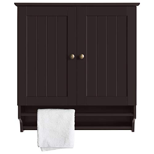 YAHEETECH Bathroom/Kitchen Wall Storage Cabinet Collection Wall Cabinet 2-Door Wall Cabinet - Espresso