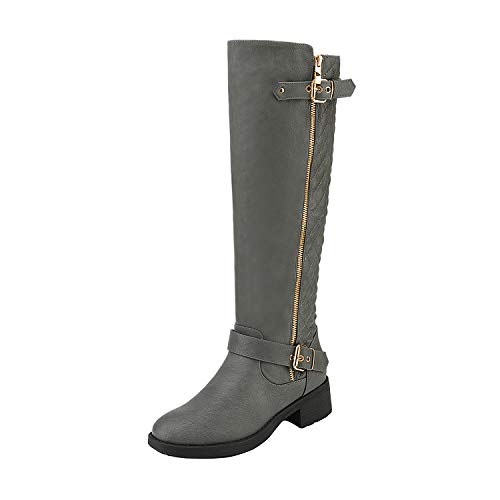 DREAM PAIRS Women's Utah Grey Low Stacked Heel Knee High Riding Boots Wide Calf Size 8 M US