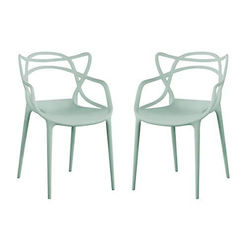 Milani Home s.r.l.s. Set di 2 Sedia in Polipropilene Plastica Verde di Alta qualità di Design per Interno E Giardino Stile Moderno per Sala da Pranzo, Cucina