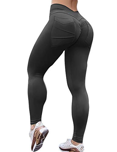 Hioinieiy Women's Scrunch Ruched Butt Lifting Booty Enhancing Leggings High Waist Push Up Yoga Pants with Pockets Black S