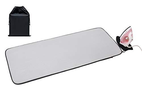 Acmebon Tapis de repassage portable avec espace en silicone pour poser le fer à repasser, Très grand épaissi (120 x 52 cm) Nappe de repassage argent