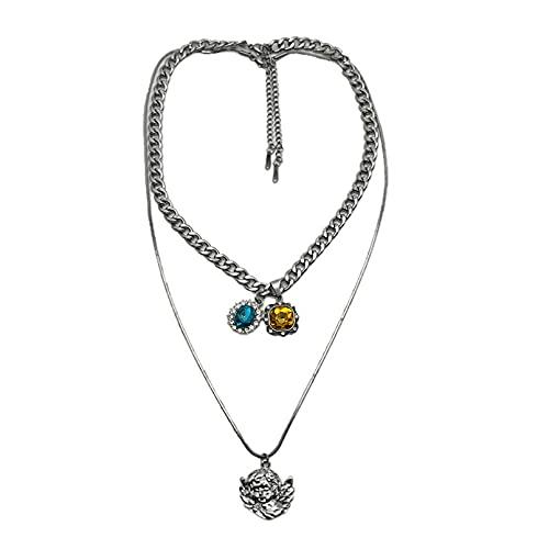 Collares para mujer, collar de cadena de clavícula, cadena de Hip Hop retro, regalos de cumpleaños para mujeres regalos para hombres