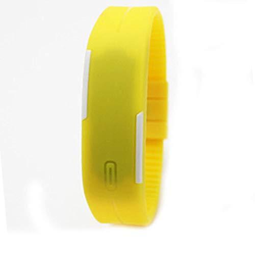 Relógios digitais Szkn Fashion Sport LED cor doce silicone tela sensível ao toque amarelo