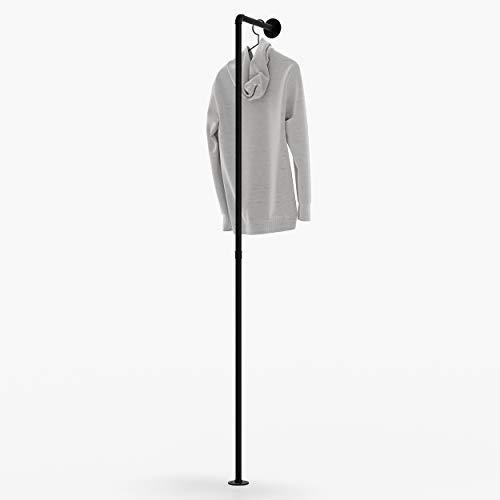 pamo Perchero Fred en diseño industrial vintage – Pequeño perchero para el pasillo en negro mate de tubos de agua de acero