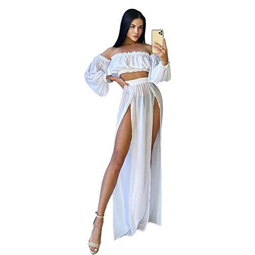 Geagodelia Damen Sexy Bikini Cover Up 2tlg Sonnenschutz Strandbekleidung Set Elegante Sommer Strand Lange Rock Sommerrock + Trägerlos Top One Size (Weiß)