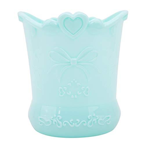 Idiytip Rose Fleur Motif Papillon Cylindre Maquillage Brosse Vase Pot Stylo Titulaire Papeterie Organisateur De Stockage Conteneur, Lac Bleu