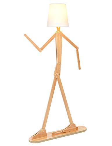 Wooden Floor Lamp for Living Room, Bedroom and Other Rooms, Reading Standing Lamp 160 cm Height LED Standing Light – Creative Modern DIY Adjustable Shapes (Khaki)
