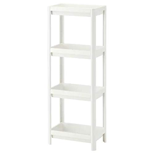Ikea VESKEN Shelf Unit, White, 36x23x100 cm (14 1/8x9x39 3/8') with TSS Cotton Balls(5 Pieces)