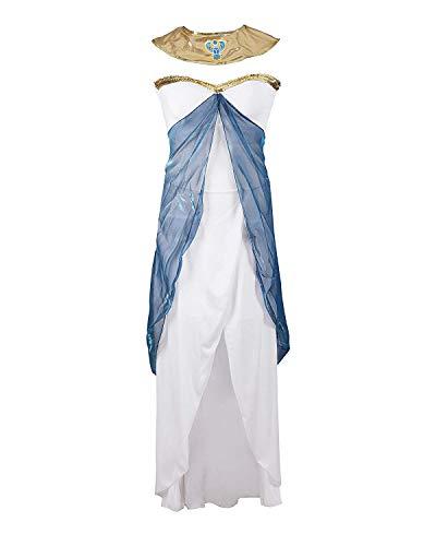 Costume da Cleopatra, firmato Emma's Wardrobe – Include vestito bianco senza maniche, Cintura, Collana, Copricapo – Costume dea greca o Vestito Egiziano per Halloween – Alta qualità – Taglie EUR 42-44