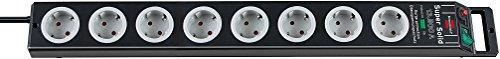 Brennenstuhl 2er Set Super-Solid Überspannungsschutz-Steckdosenleiste 8-Fach schwarz/lichtgrau mit Schalter, 1153380318, 2 Stück