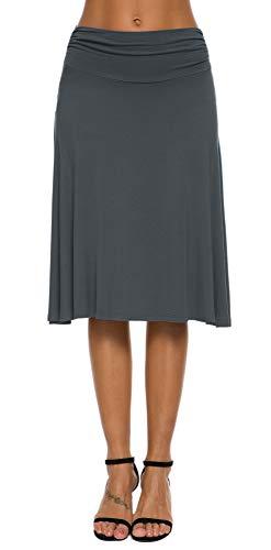 EXCHIC Falda de Yoga para Mujer con Mini Llamarada (L, Pizarra)
