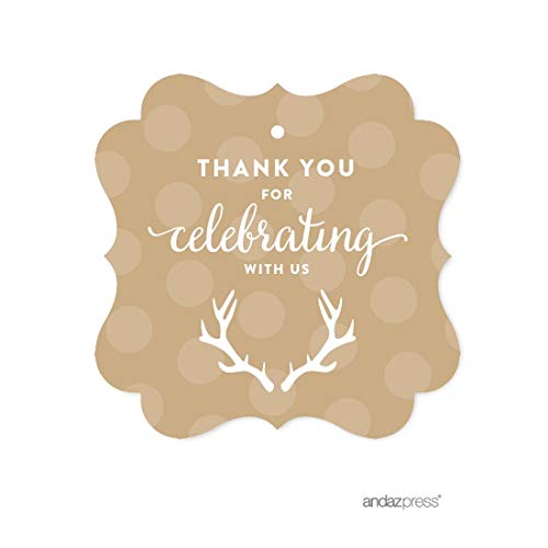 Andaz Press Birthday Fancy Frame Gift Tags, Thank You for Celebrating With Us, Tan Deer Antlers, 24-Pack, For Gifts and Party Favors