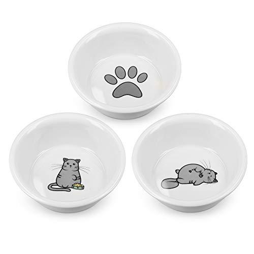 Navaris Futterstation Futternäpfe für Katzen und Hunde - Futternapf Set aus Porzellan - 3X Fressnapf Katzennapf - spülmaschinenfest