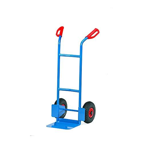 Fetra B1125L Stahlrohrkarre, Traglast 200 kg, Schaufel L 320 x 250 mm, Luftbereifung, H x B 1150 x 570 mm, blau