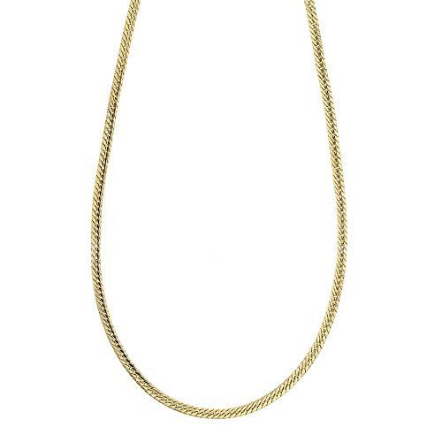 Collana In Oro Giallo 18k 750/1000 Modello Spiga Piatta, Lucida Unisex