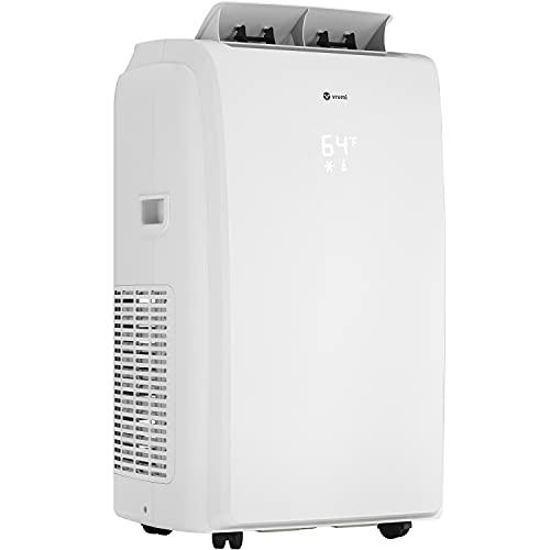 Vremi 12000 BTU aire acondicionado portátil con función de calor para habitaciones de 300 a 350 pies cuadrados, potente unidad de CA con ventilador de refrigeración, ruedas, filtro reutilizable, apagado automático y pantalla LED