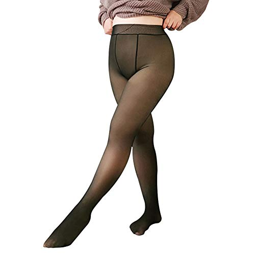 Syfinee Women's Plus Size Control Ultra-Soft Tights Legs Fake Translucent Warm Fleece Pantyhose Soft Leggings Thick Stretchy for Women