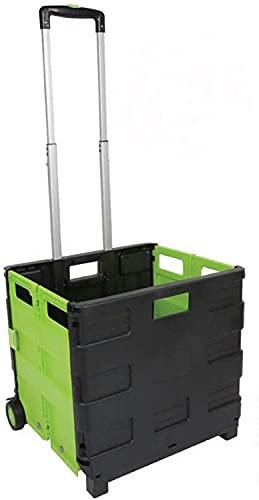 Homespired Carrito plegable con ruedas (negro/verde - 35 kg)