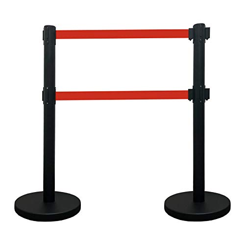 VIP Crowd Control Dual Retractable Belt Queue Safety Stanchion Barrier Set, 40