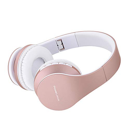 PowerLocus Wireless Bluetooth Over-Ear Stereo Foldable Headphones, Wired Headsets Rechargeable with Built-in Microphone for iPhone, Samsung, LG, iPad (Rose Gold)