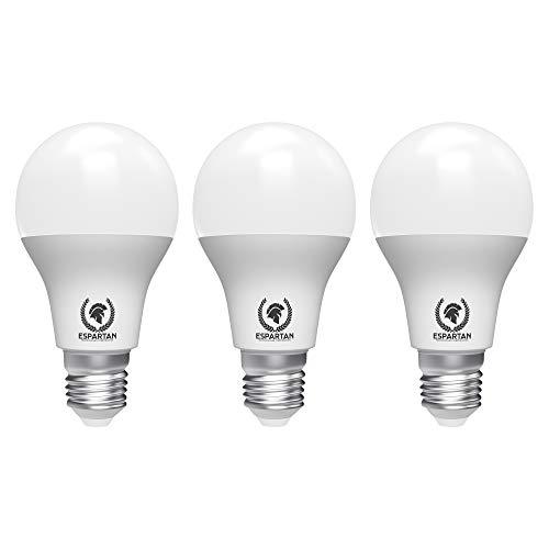 Espartan Bombilla LED E27 Luz cálida 12W, 3000K, 980 lúmenes, Equivalente a 96W incandescente, Casquillo gordo, Blanco cálido - 3 unidades [Clase de eficiencia energética A+]
