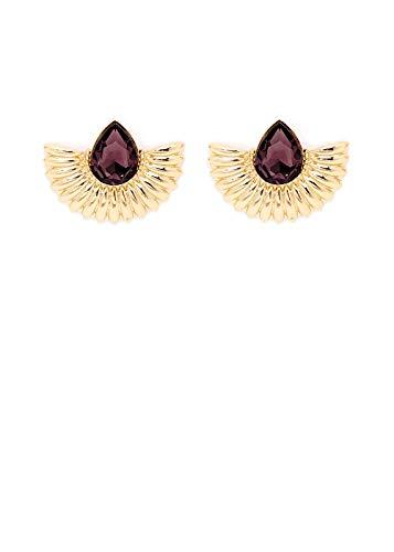 Tinta oro brillante e pietra a goccia color vino sfaccettata che troneggia sul design a ventaglio per gli orecchini di Nalì. Dotati di chiusura a farfallina, hanno un adorabile fascino retrò.