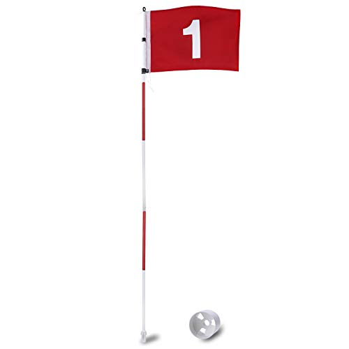 KINGTOP Golf Pin Flags Pro, Practice Putting Green Flagstick Hole Cup Set, Golf Flag Stick for Driving Range   Backyard   Indoor   Outdoor, 5-Section Design, Red Flag Numbered #1, 6ft Flagpole, 1-Set