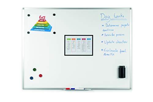 BoardsPlus Magnetisches Whiteboard 105 x 75 cm, Mit Aluminiumrahmen und Stifteablage, Tocken Abwischbar, Wiederbeschreibbar