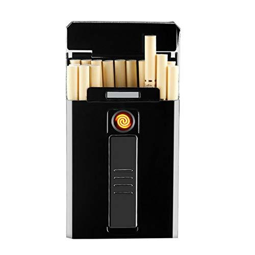 BNMY Zigarettenetui Mit Feuerzeug, Zigarettenbox, Für 20 Stück Normale Zigaretten, Tragbar, King-Size-Zigaretten, USB-Feuerzeug, Wiederaufladbar, Flammenlos, Winddicht, Elektrisches Feuerzeug,Schwarz