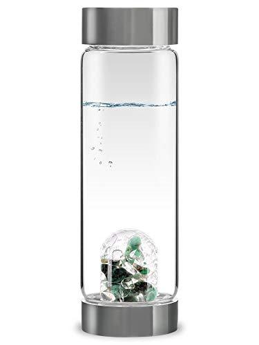 VitaJuwel ViA VITALIDAD   Botella De Agua Con Piedras Preciosas (Esmeralda – Cuarzo Claro)