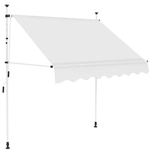Toldo retráctil manual con revestimiento de poliuretano y marco de acero para ventanas terrazas jardín refugio solar 150×120 CM crema