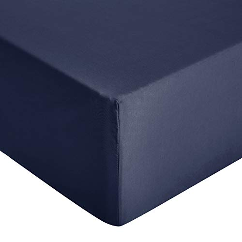 Amazon Basics - Sábana ajustable de microfibra premium (90 x 200 cm), azul marino