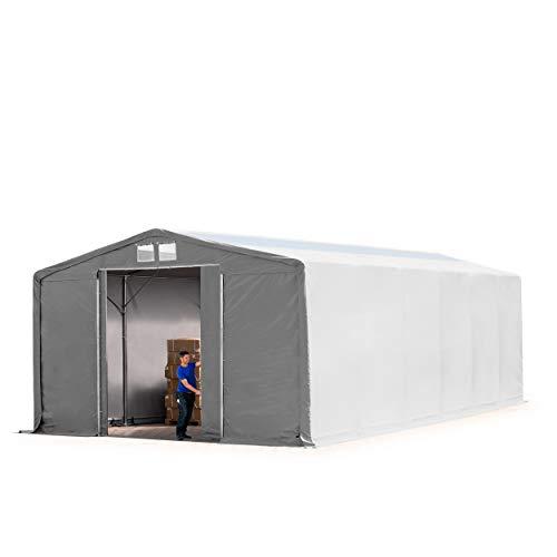 TOOLPORT Lagerzelt Zelthalle Weidezelt 8x12x3,6 m mit Schiebetor - durchgehende 550 g/m² PVC Plane - Wasserdicht mit OBERLICHT