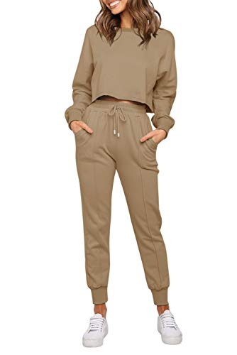 ZESICA Women's Long Sleeve Crop Top and Pants Pajama Sets 2 Piece Jogger Long Sleepwear Loungewear Pjs Sets Khaki