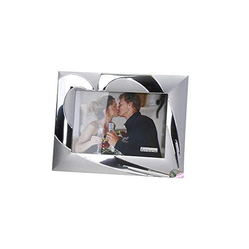 Moderner Fotorahmen 13x18cm Herz silber aus Aluminium matt + glänzend kombiniert
