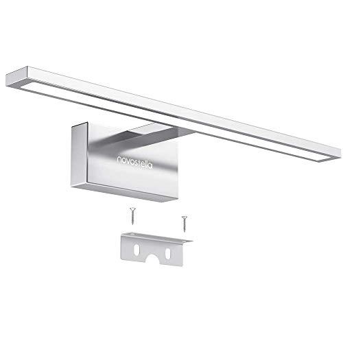 Novostella LED Spiegelleuchte 10W Badleuchte Verchromte Aluminiumlegierung 6000K IP44 wasserdicht LED Schminklicht 800lm 40CM, sicher zu benutzen CE und RoHs zertifiziert (400x125x60mm), Kaltweiß