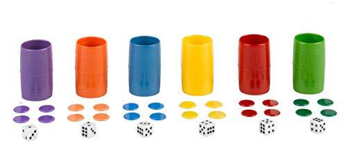 Falomir- Acc Parchís Set Completo de 6 cubiletes de plástico. Juego de Mesa (Accesorios), Multicolor (27934)