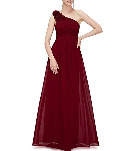 Richly Shop Vestido largo de fiesta de noche de dama de honor con flores de un solo hombro - rojo - 48