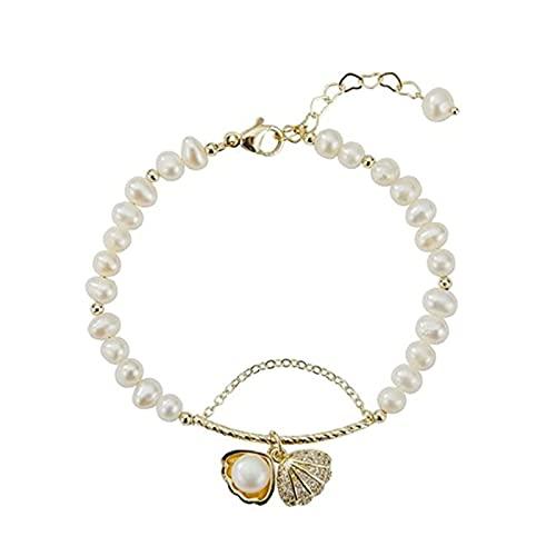 Pulsera de concha de perla natural, ajustable pulsera de tobillo de concha de perla, joyería de pulsera diaria para fiestas, adecuada para regalar a novias y niñas (15*15*15cm)