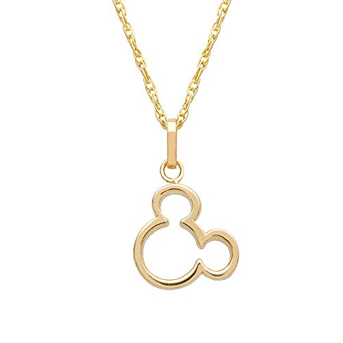 Disney Women's Jewelry Mickey Mouse 14k Yellow Gold Pendant Necklace,18'