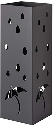 Baroni Home Portaombrelli Quadrato in Metallo con Intagli a Forma di Ombrelli e Pioggia Nero 15.5X15.5X49 cm con Gancino e Vaschetta Scolapioggia Rimovibile
